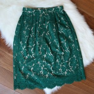 J.Crew Contrast Floral Lace Skirt Emerald Green